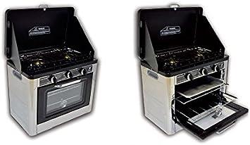ALTIGASI Hornillo a Gas GLP para Camping y Nautica Vulcano con Piano a 2 Fuegos sellador de Horno con termostato – Encendido piezoeléctrico – Ideal ...
