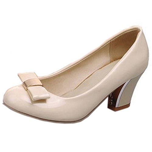 COOLCEPT Zapatos Mujer Moda Lovely Bow Tie Spring Casual Tacon Ancho medio Bombas Zapatos Albaricoque