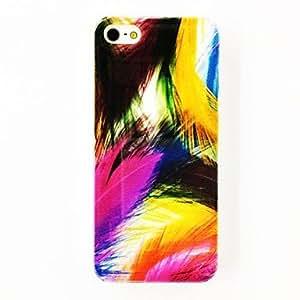 Punk patrón de la pluma colorida suave del caso de TPU para el iPhone 5/5S , Multicolor
