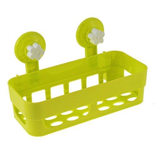 eDealMax plastique ABS salle de bains Accessoires de rangement Tablette Jaune Vert Blanc