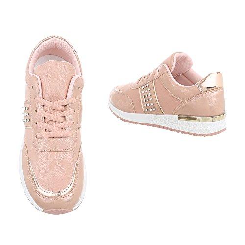 Ital-Design Sneakers Low Damen-Schuhe Sneakers Low Sneakers Schnürsenkel Freizeitschuhe Pink, Gr 40, P-18-