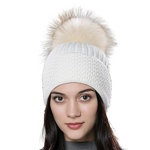 URSFUR Unisex Autumn Knit Wool Beanie Cap with Fur Ball Pompom Womens Winter Hat