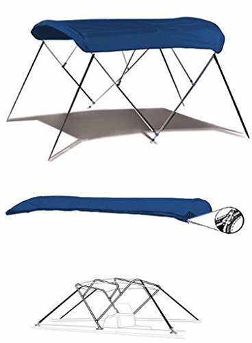 7oz BLUE 4 BOW ROUND TUBE BOAT BIMINI TOP SUNSHADE TOP FOR SEA RAY 190 SUNDECK W/ EXTD SWPF 2001-2002