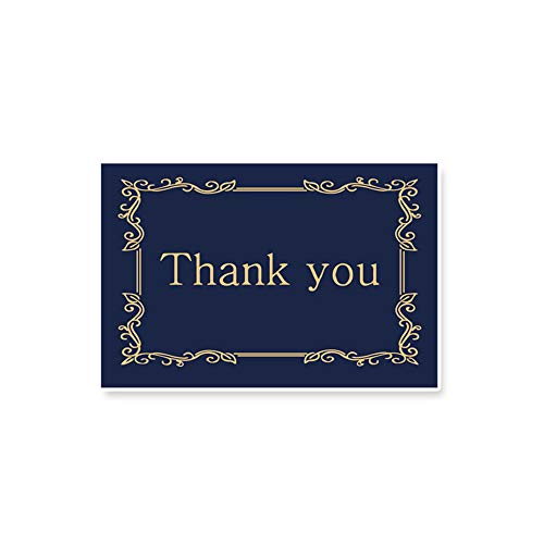 (1KTon Elegant Design Thank you Greeting Card Bulk, Includes Navy Blue & Gold Blank Note Card,Envelopes and Stickers-Perfect For Wedding, Baby shower, Business,Bridal)