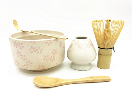 CHAQI 5 Items Matcha Ceremony Starter Kit:Bamboo Whisk,Spoon & Scoop, Japanese Sakura Matcha Bowl and Whisk Holder- Complete Matcha Tools Gift Set (Sakura 2) by Home Soul