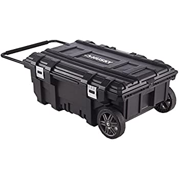 Husky 35 In. Mobile Job Box Features Power Cord Access For Tool Charging, 8 In. All-Terrain Wheels Allow Easy Portability Across Most Surface Types, Holds Up To 100 Lbs. Of Gear