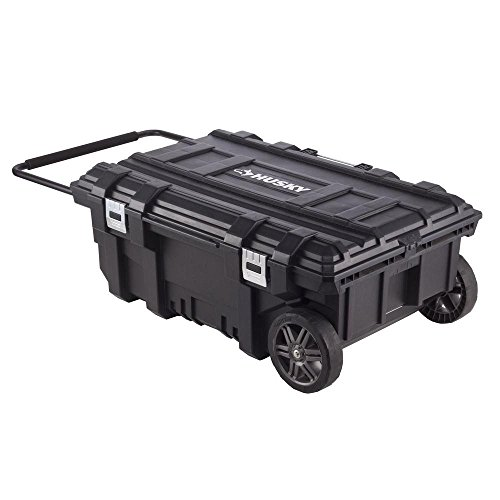(Husky 35 In. Mobile Job Box Features Power Cord Access For Tool Charging, 8 In. All-Terrain Wheels Allow Easy Portability Across Most Surface Types, Holds Up To 100 Lbs. Of Gear)