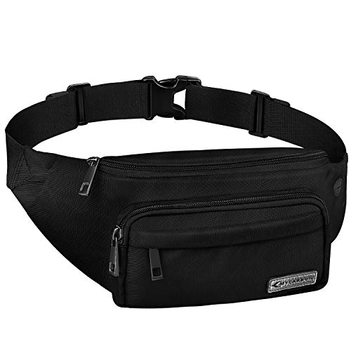 - MYCARBON Fanny Pack for Men and Women, Large Fanny Pack Waist Pack Bag Cute Hip Bum Non-Bounce Belt Non-Slip Cotton Durable Pouch with Adjustable Strap for Outdoors Casual Travel Hiking Black