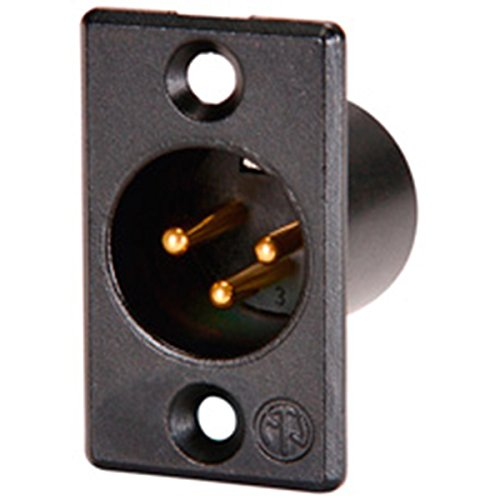 Neutrik NC3MP-B Panel Mount Male XLR Connector Black Gold Contacts