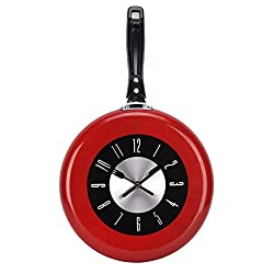Uniquebella Kitchen Wall Clock Modern Design 10inch Metal Frying Pan for Home Decor (Red)