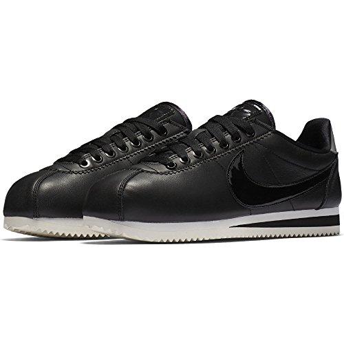 Scarpa Casual Nike Da Donna Classica In Pelle Cortez Nero / Nero-riflettente Grigio Argento-freddo