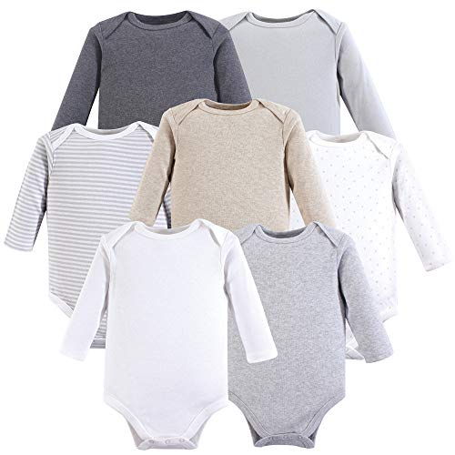 Hudson Baby Unisex Baby Long Sleeve Cotton Bodysuits, Neutral Long Sleeve 7 Pack, 9-12 Months (12M) from Hudson Baby