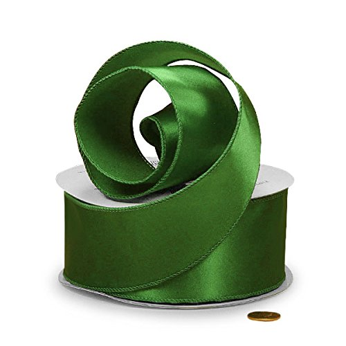 Emerald Green Satin Wired Ribbon 1 1/2