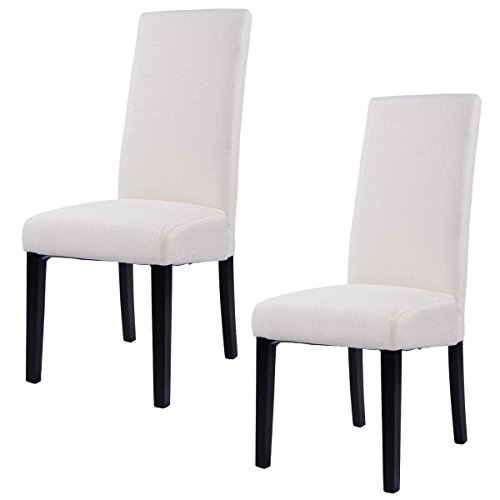 Giantex Set of 2 Fabric Dining Chair Armless Accent Upholstered Wood Modern Living Room Beige