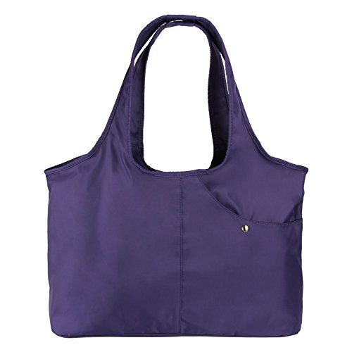 ZOOEASS Women Fashion Large Tote Shoulder Handbag Waterproof Tote Bag Multi-function Nylon Travel Shoulder(Purple)