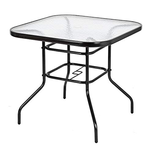 32″ Patio Table Glass Table Patio Bistro Tables Steel Frame Tempered Glass Top Outdoor Dining Table Square Outside Bar Table w/ Umbrella Hole for Garden Pool Lawn Balcony Outdoor Furniture Patio Table