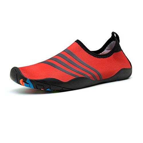Lightweight On Men Swimming Drying Shoe Red Surfing Stripe Slip Quick Walking Socks GOMNEAR Aqua Women Water Shoes xOXAqWUPwH
