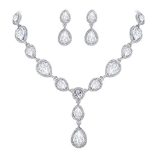 - EVER FAITH Teardrop Clear Austrian Crystal Wedding Necklace Earrings Set Silver-Tone