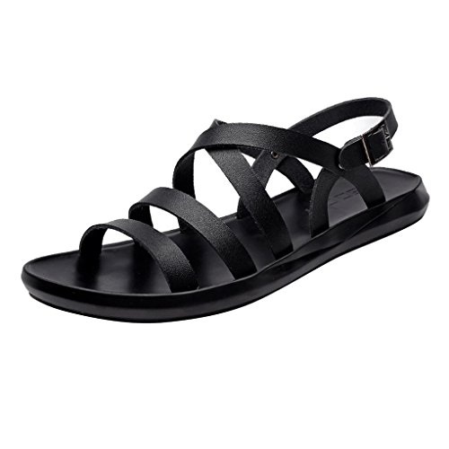 ACMEDE Men Sandals Strap Open Toe Breathable Leather Summer Beach Holiday Slippers Black 6n9hEHR