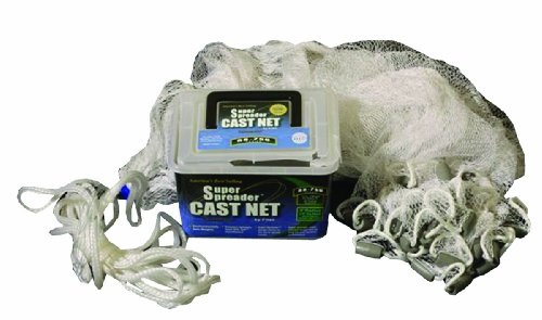 FITEC Super Spreader Nylon Fishing Cast Net, 1/4-Inch X (Nylon Cast Nets)