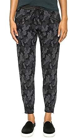 David Lerner Women's Camo Track Pants, Black Camo, Small