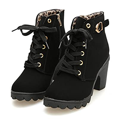 AOJIAN 2019 Womens Fashion High Heel Lace Up Ankle Boots Ladies Buckle Platform Shoes