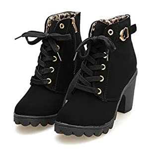 851ed26ef8c2 AOJIAN 2019 Womens Fashion High Heel Lace Up Ankle Boots Ladies Buckle  Platform Shoes