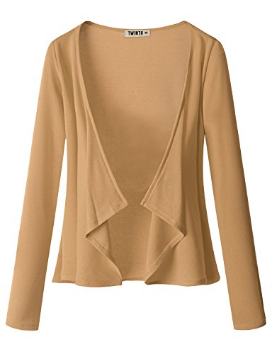 Doublju Womens Long Sleeve Jersey Knit Cardigan Draped Open Cardigan (S - 3XL)
