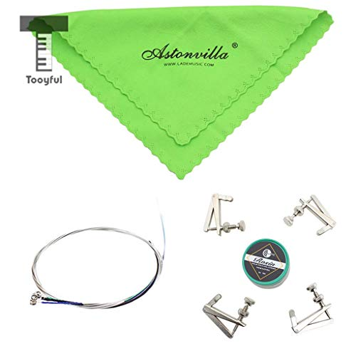 Value-5-Star - 4 in 1 Viola Accessory Set Cleaning Cloth+4 String Set+Rosin+Fine Tuners for Viola Beginners Gift