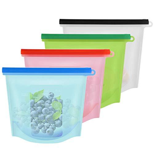 4pcs Reusable Silicone Food Storage Preservation Bags FDA BPA Free,1000ML Food Grade Storage Bag,Zip Seal Bag,Vegetable Meat Milk Cooking Bags for Freeze Steam Heat Microwave Dishwasher