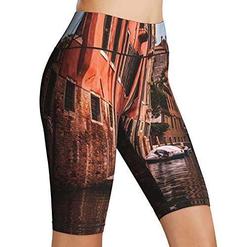 Inaayayi Hoge Taille Yoga Shorts Venetië Oude Straten Boten Oude Huizen Venetië Cityscape Vrouwen Biker Shorts Tummy…