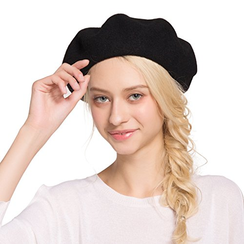 Sedancasesa Beret Hat French Artist Casual Classic Solid Color Wool Beanie Hats (Black) - French Mime Artist Costume