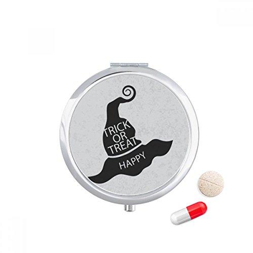 Halloween Black Witch Hat Travel Pocket Pill case Medicine Drug Storage Box Dispenser Mirror ()