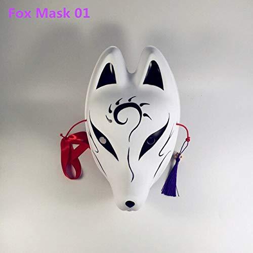 PKRISD Fox Mask Full Face Hand-Painted Japanese Mask Kitsune Cosplay Masquerade Animal mask Cosplay mask