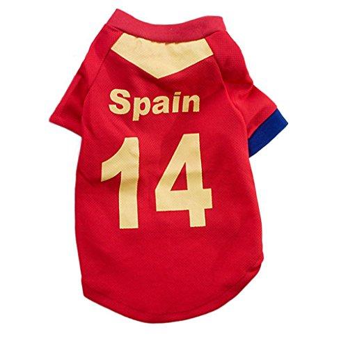 Clary Camiseta Oficial de fútbol 2018 de la Copa Mundial de la FIFA Camiseta de fútbol de Jersey de Perro para España...