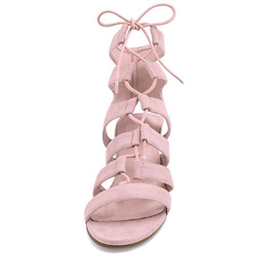 16d1d8e61557 Allegra K Damen offene Zehen Ausgeschnitten grobe Hacke Schnuerschuh  Sandalen US 6, Pink, ...