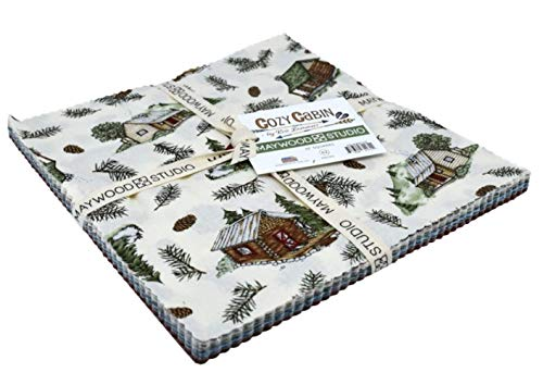 - Cozy Cabin 10-inch Precut Squares Cotton Fabric Quilting Assortment Layer Cake by Kris Lammers for Maywood Studio