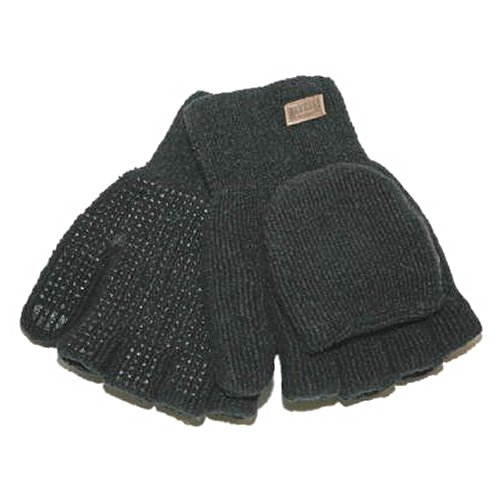 KINCO 5110W Women's Alyeska Rag Gloves, Wool Lined Half Finger with PVC Dots, One Size, Black ()