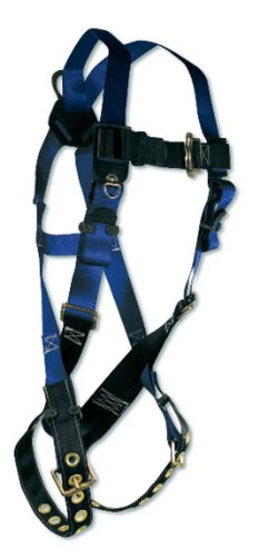 (Fall Tech 7016X/2X Contractor Full Body Harness with 1 D-Ring and Tongue Buckle Leg Straps, Universal Fit)