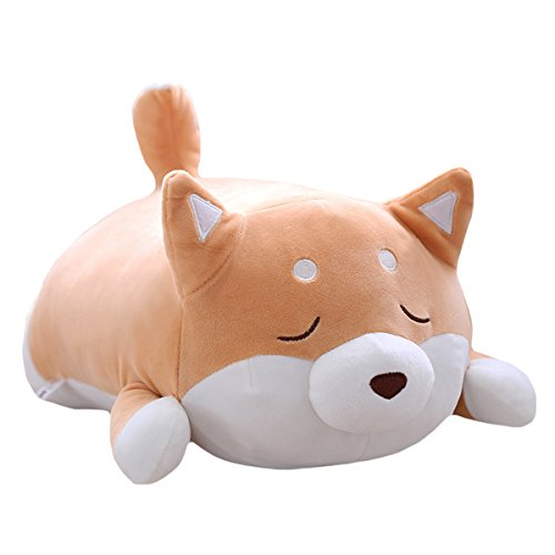 Shiba Inu Dog Plush Pillow, Cute Corgi Akita Stuffed Animals Doll Toy Gifts for Valentine's Gift, Christmas,Sofa Chair, Brown Blink 15""