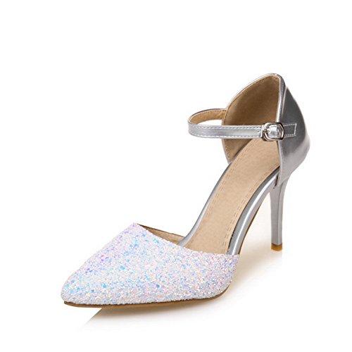 AdeeSu Womens Baguette-Style Huarache Studded Urethane Sandals SLC03734 Silver r4lZIhXP