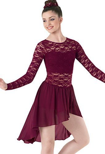Balera Lyrical Dance Dress Long Sleeve Lace and Georgette with Built-In Bra and Shorts Black Cherry Adult ()