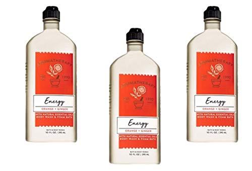 Bath Body Works Aromatherapy Energy – Orange and Ginger Body Wash Foam Bath, 10 Fl Oz, 3-Pack