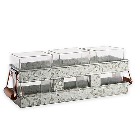 Heritage Home 4-Piece Galvanized Metal and Copper Flatware Caddy ()