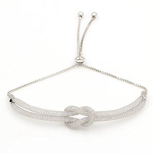 Aworth Bezel Setting Tiny Cubic Zirconia CZ Zircon Crystal Adjustable Bracelets For Women 2 row tie (Tiffany Palm Tree Necklace)