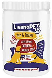 LIVANOPET Advanced Hip and Joint Supplements for Dogs of All Ages, 225 Soft Chews with Glucosamine, MSM, Flax Seed, Chondroitin, German Brand