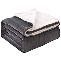 JML Sherpa Blanket Throw for Bed Couch 50-in x 60-in Deals