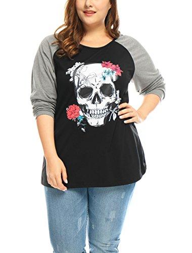 uxcell Women Plus Size Floral Skull Contrast Color Raglan T-Shirt 1X Black
