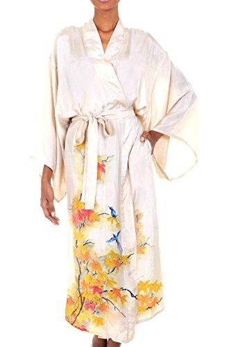 NOVICA Beige Handcrafted Floral Silk Robe, Golden Island'