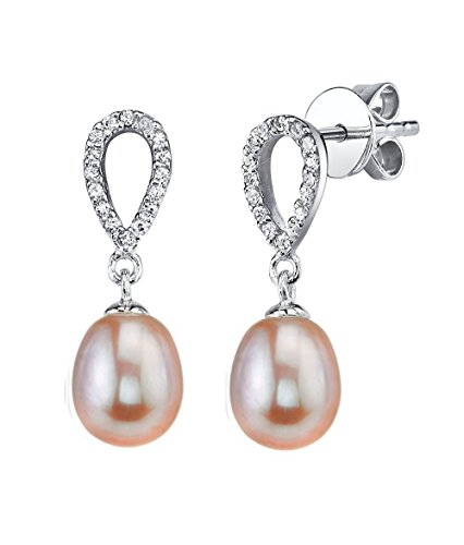 THE PEARL SOURCE 7-8mm Genuine Pink Freshwater Cultured Pearl & Cubic Zirconia Delia Earrings for Women